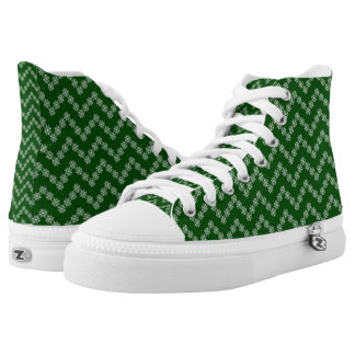 Green And White Zigzag Flowers High Tops