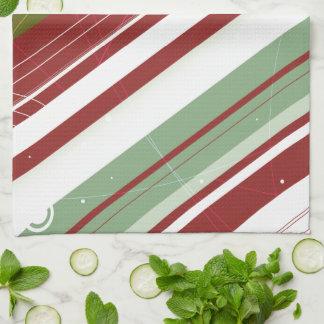 Green and Wine Modern-Retro Stripes with Monogram Tea Towel