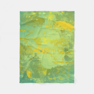 Green and Yellow Abstract Art Fleece Blanket
