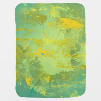 Green and Yellow Abstract Art Pramblankets