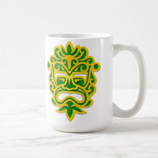 Green and Yellow Aztec Mask Basic White Mug