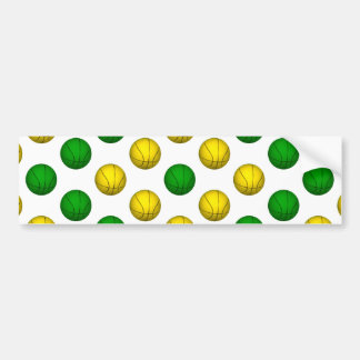 Green and Yellow Basketball Pattern Bumper Sticker