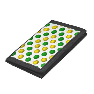 Green and Yellow Basketball Pattern Tri-fold Wallets