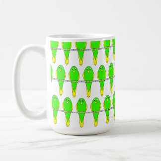 Green and Yellow Bird Pattern. Parakeets. Coffee Mug