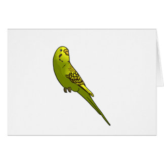 Green and yellow budgie greeting card