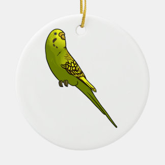 Green and yellow budgie round ceramic decoration