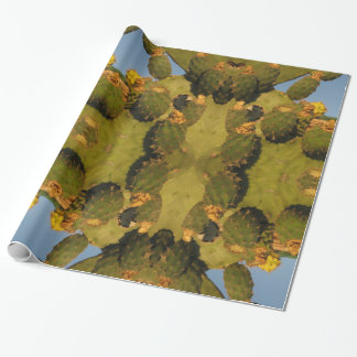 Green and Yellow Cactus Glossy Wrapping Paper