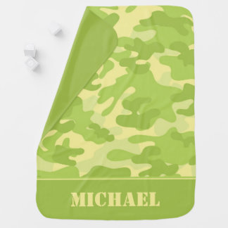 Green and Yellow Camouflage   Personalized Baby Blanket
