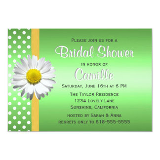 Green and Yellow Daisy Bridal Shower Invitation