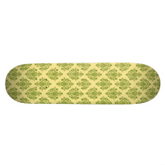Green and Yellow Damask Patterned Skate Deck