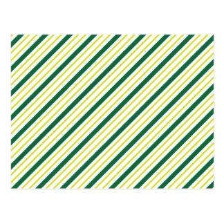 Green And Yellow Diagonal Stripes Postcard