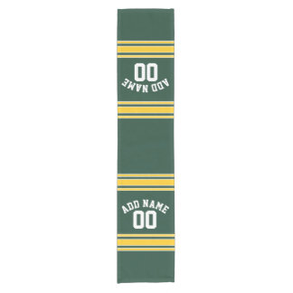 Green and Yellow Gold Striped Personalized Sports Short Table Runner