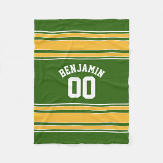 Green and Yellow Gold Striped Sports Jersey Fleece Blanket