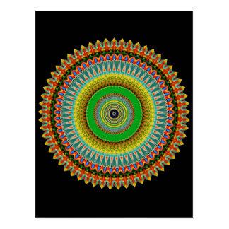 Green and Yellow Kaleidoscope Mandala Postcard