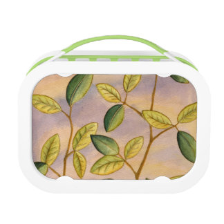 Green and Yellow Leaves on Sunset Background Lunch Box