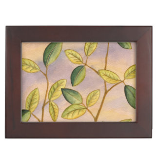 Green and Yellow Leaves on Sunset Background Memory Boxes