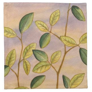 Green and Yellow Leaves on Sunset Background Napkin