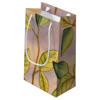 Green and Yellow Leaves on Sunset Background Small Gift Bag