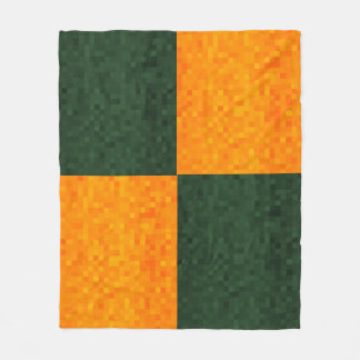 Green And Yellow Mosaic Pattern, Fleece Blanket