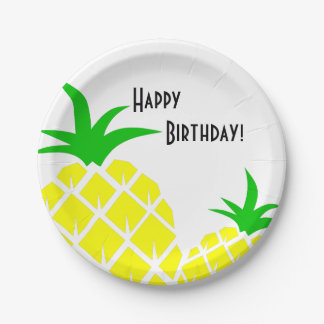 Green and Yellow Pineapples Happy Birthday Paper Plate