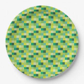 Green and Yellow Pixelated Pattern 9 Inch Paper Plate