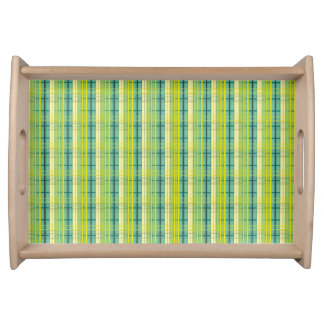 green and yellow plaid pattern serving tray