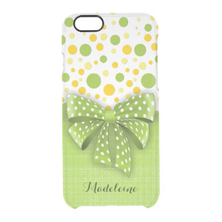 Green and Yellow Polka Dots, Spring Green Ribbon Clear iPhone 6/6S Case