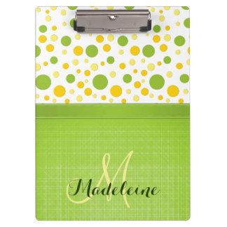 Green and Yellow Polka Dots, Spring Green Ribbon Clipboard