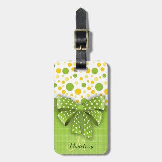 Green and Yellow Polka Dots, Spring Green Ribbon Luggage Tag