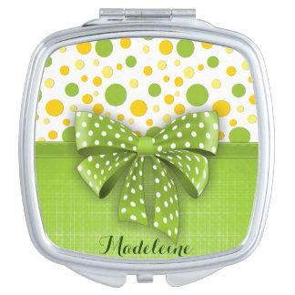 Green and Yellow Polka Dots, Spring Green Ribbon Mirrors For Makeup