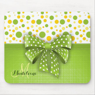 Green and Yellow Polka Dots, Spring Green Ribbon Mouse Pad