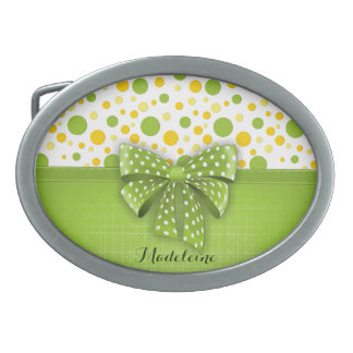 Green and Yellow Polka Dots, Spring Green Ribbon Oval Belt Buckle