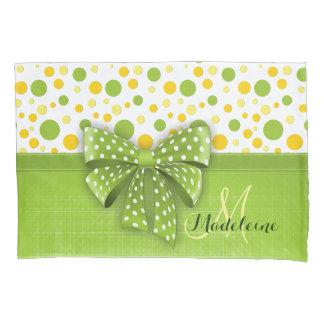 Green and Yellow Polka Dots, Spring Green Ribbon Pillowcase