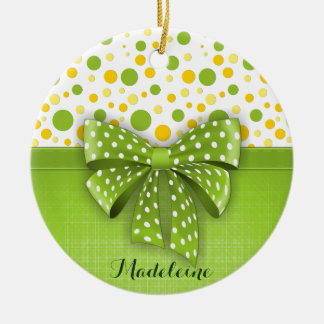 Green and Yellow Polka Dots, Spring Green Ribbon Round Ceramic Decoration