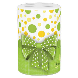 Green and Yellow Polka Dots, Spring Green Ribbon Soap Dispenser And Toothbrush Holder