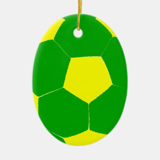 Green and Yellow Soccer Ball Christmas Ornament