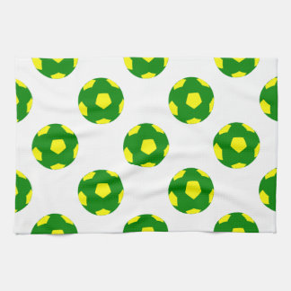 Green and Yellow Soccer Ball Pattern Tea Towel