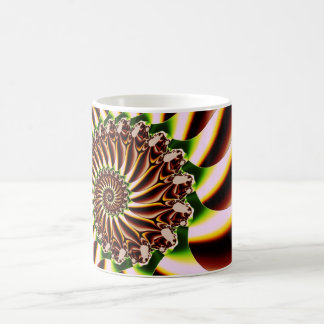 Green and Yellow Spiral Shell Fractal Mugs