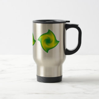 Green and Yellow Spiral Stainless Steel Travel Mug