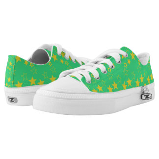 Green And Yellow Stars Printed Shoes