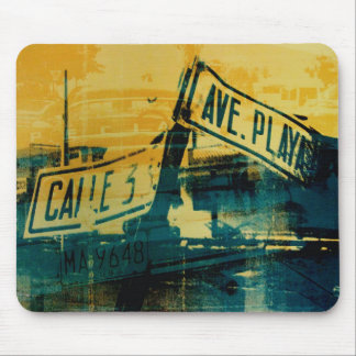 Green and Yellow Street Sign Mouse Mat