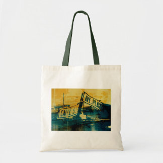Green and Yellow Street Sign Tote Bag