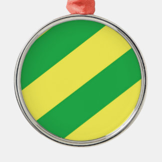 Green and Yellow Stripes Silver-Colored Round Decoration