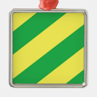 Green and Yellow Stripes Silver-Colored Square Decoration