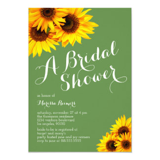 Green and Yellow Sunflowers Bridal Shower Card