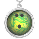 Green and Yellow Swirl Bowling Ball Necklaces