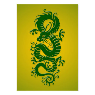 Green and Yellow Tribal Chinese Dragon Business Card Template