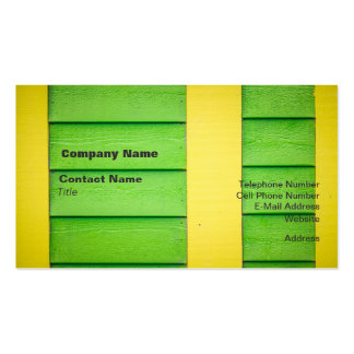 Green and Yellow Wooden Siding Business Cards