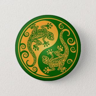 Green and Yellow Yin Yang Geckos 6 Cm Round Badge