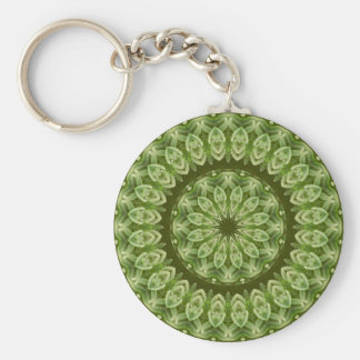 Green Anemone Mandala 2 Basic Round Button Key Ring